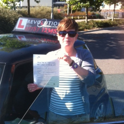 Image of Donna Grounds with pass certificate - Revolution Driving School